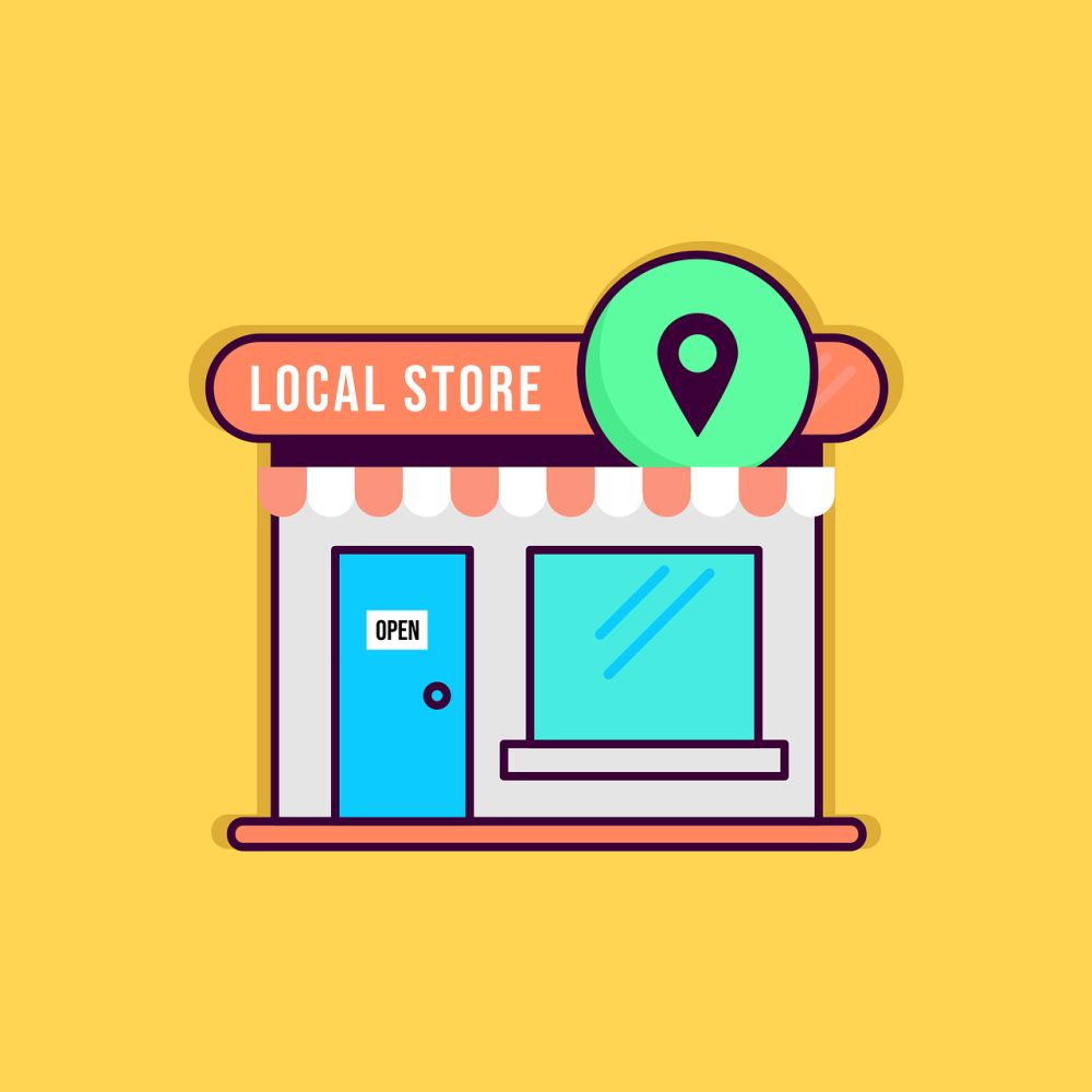 local store with map pin icon