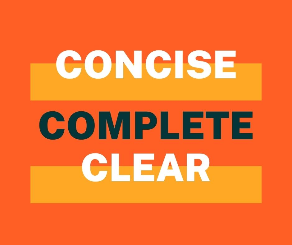 Concise complete clear words in orange background